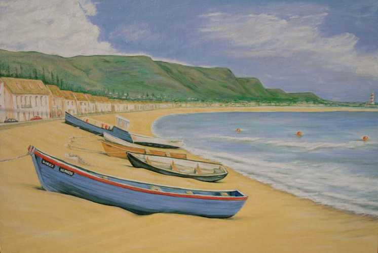 Boats on the beach: Oil on Canvas, 76x50cm not for sale